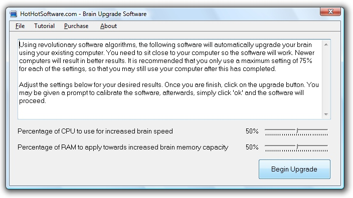 Brain Upgrade software to upgrade your brain capacity and speed
