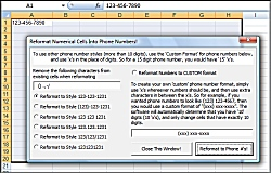 Excel Customize Format and change numbers into phone numbers for