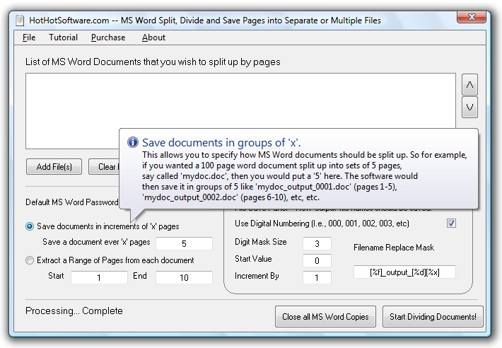 MS Word Split, Divide and Save Pages into Separate or Multiple F