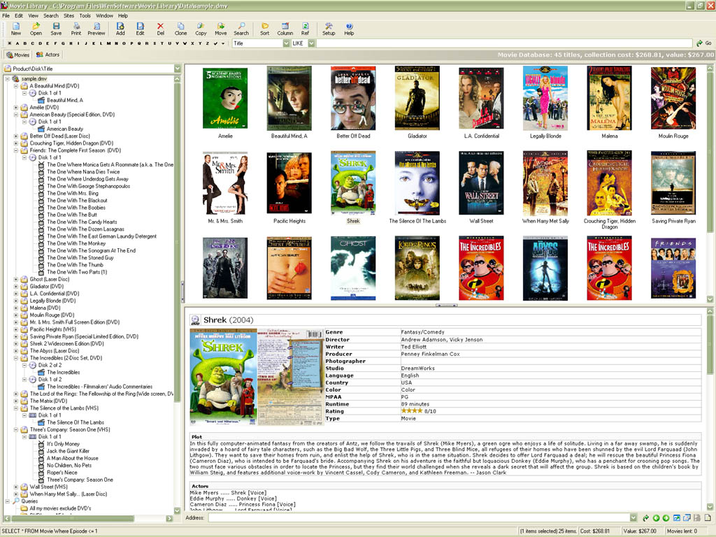 It's also a movie and actor database. You can record extensive information ...
