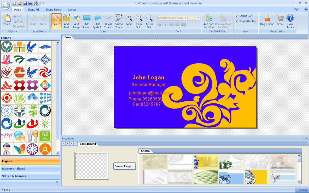 Windows vista business cards gallery card design and card template eximioussoft business card designer 325 free download for windows eximioussoft business card designer screenshots reheart gallery reheart Gallery